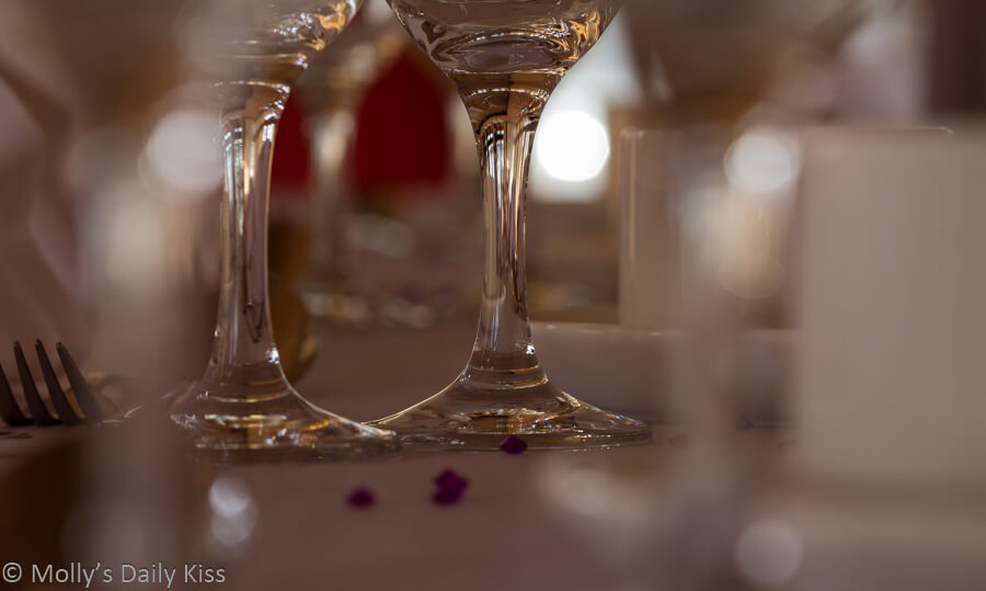 Reflections in wine glass stem