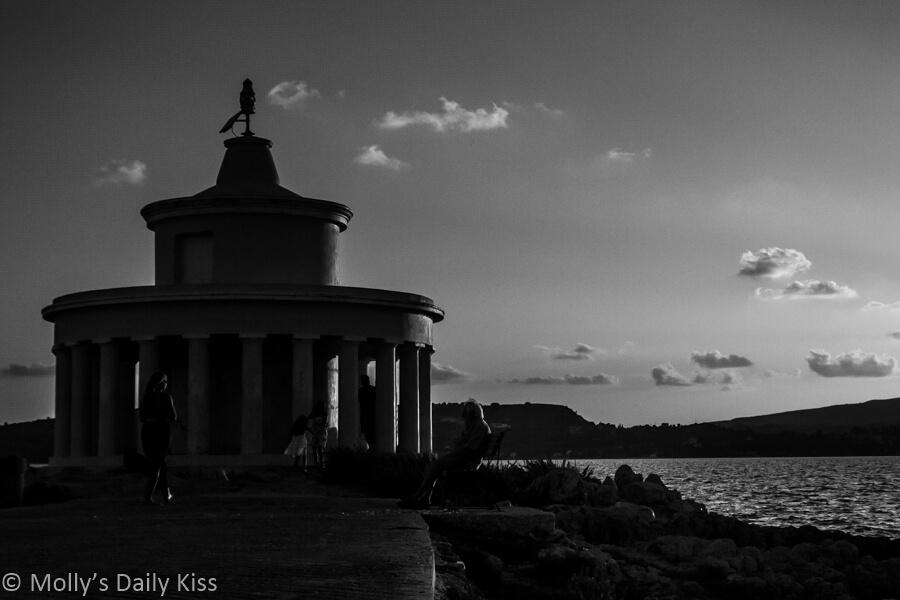 lighthouse at sunset on Kefalonia