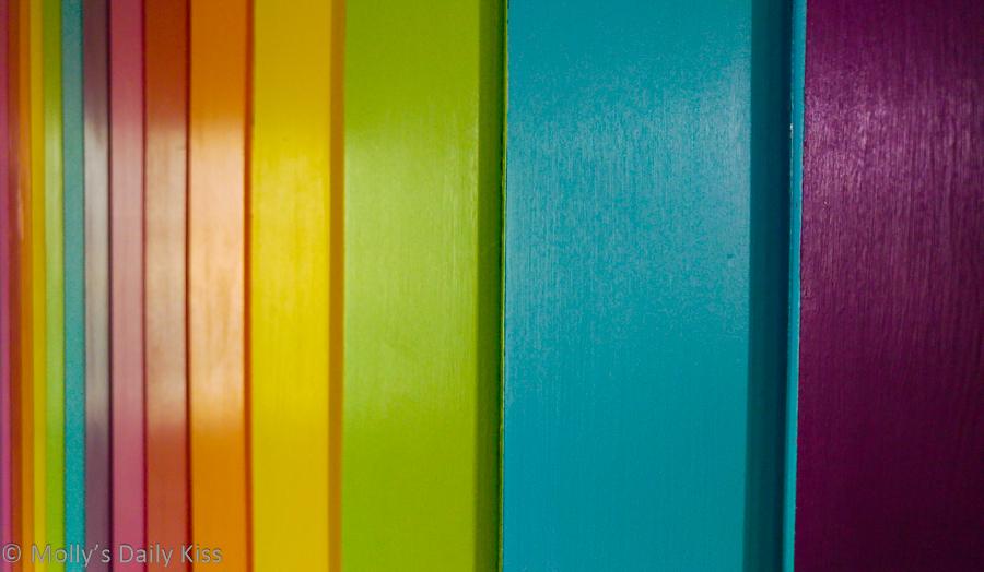 rainbow striped wall