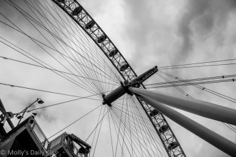 Searching the skies from the London eye against cloudy sky
