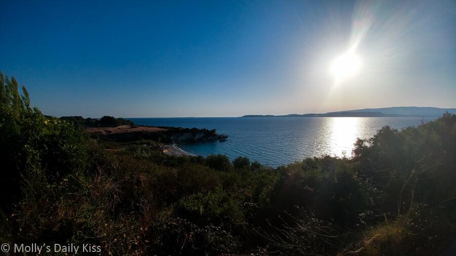 Sunshine over beach bay in Kefalonia