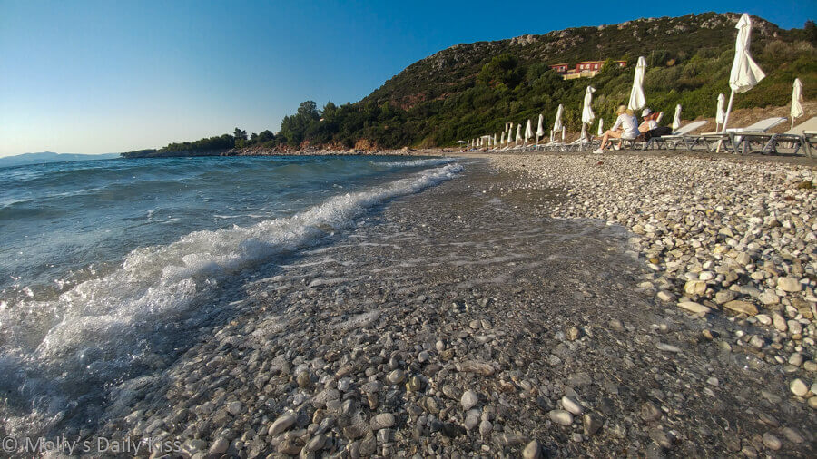 Waves on the shore in kefalonia greece