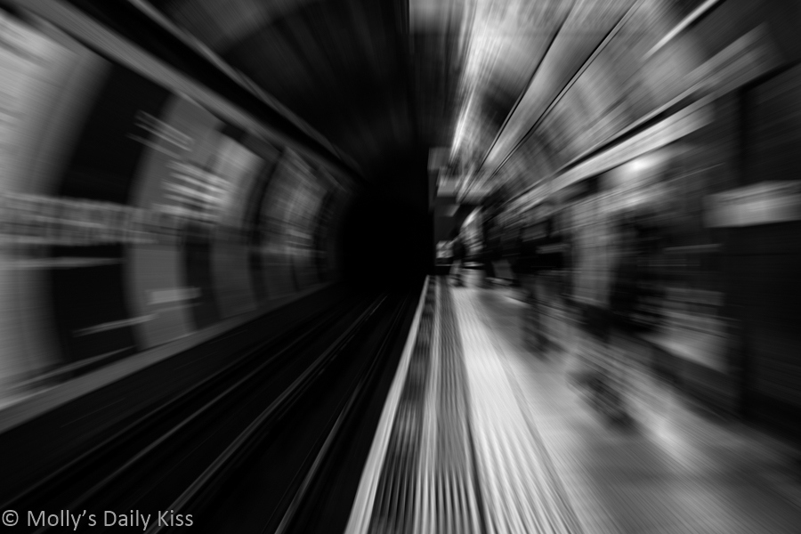 abstract of subway tunnel zomming towards the viewer