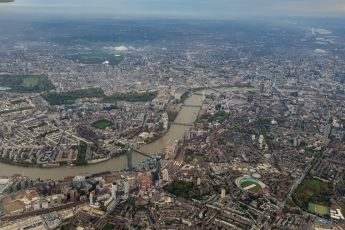 Aerial view of london from plane