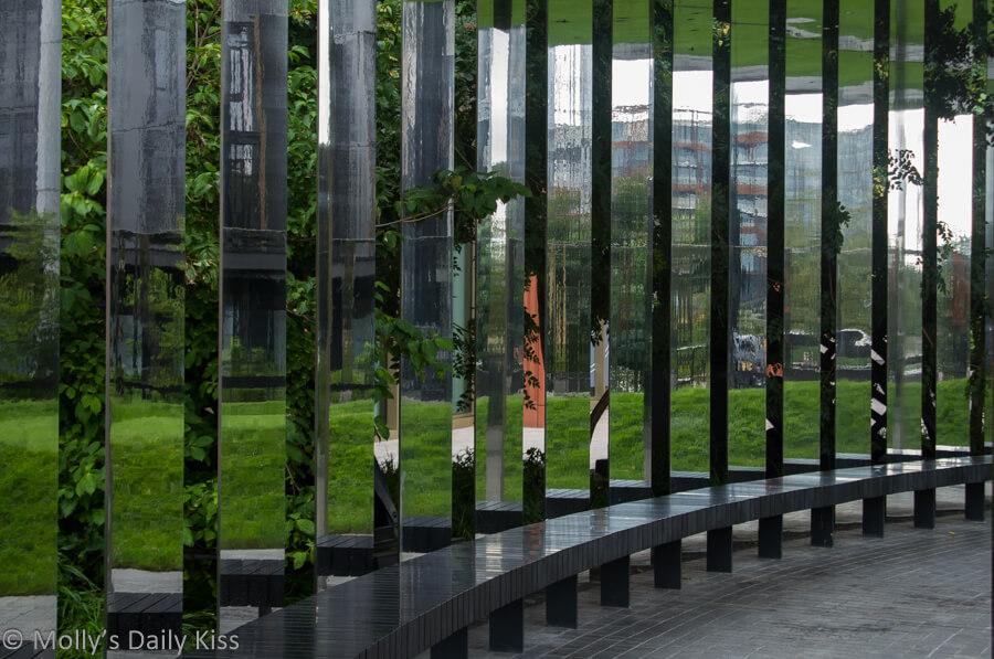 mirror wall at gasworks in coal drop yard london