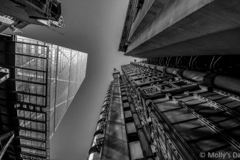 Looking up Lloyds of London building edited in black and white