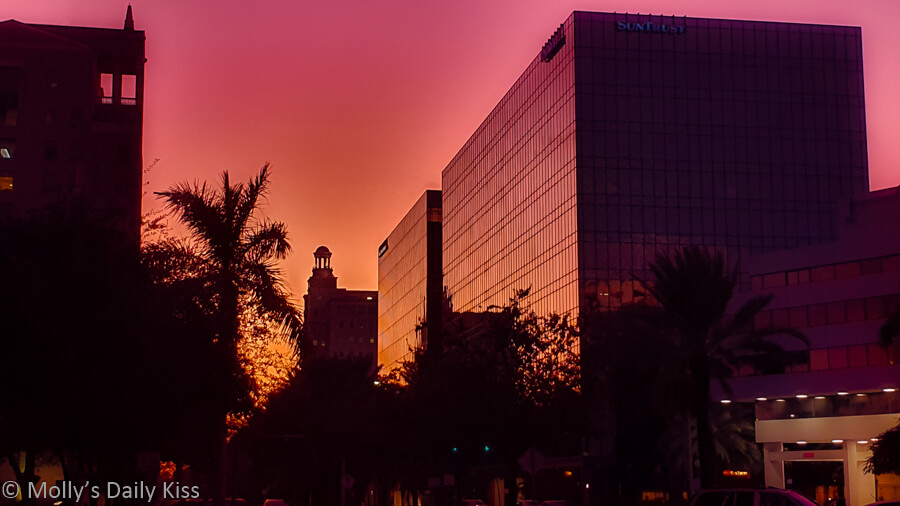Red sunset over miami