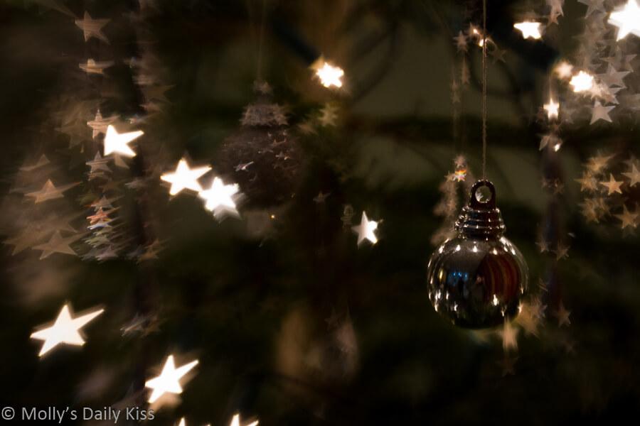 Bokeh of stars on Christmas tree