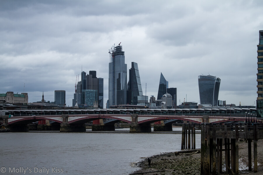 Looking down the river thames to city of london