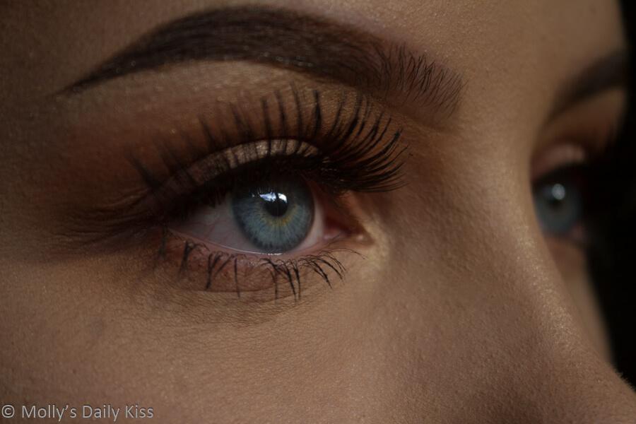 close up of eye with eyelashes