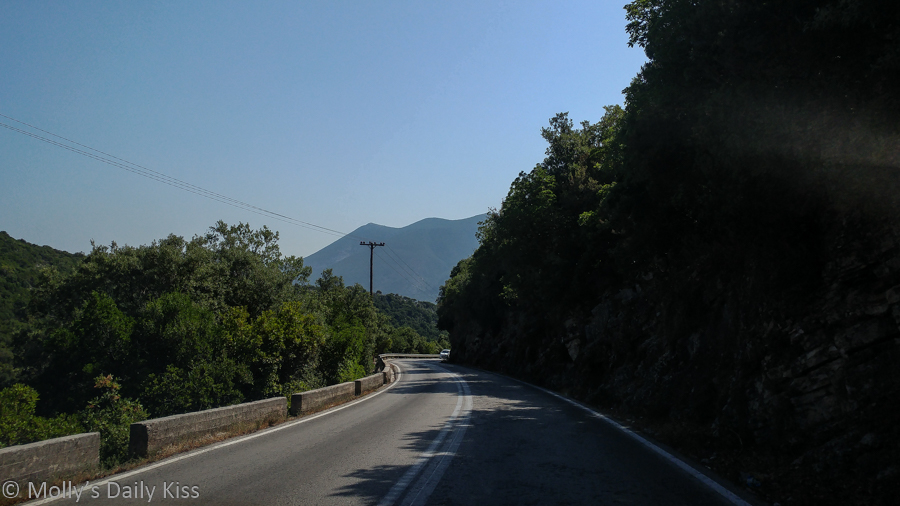 Windy road through mountains in Kefalonia