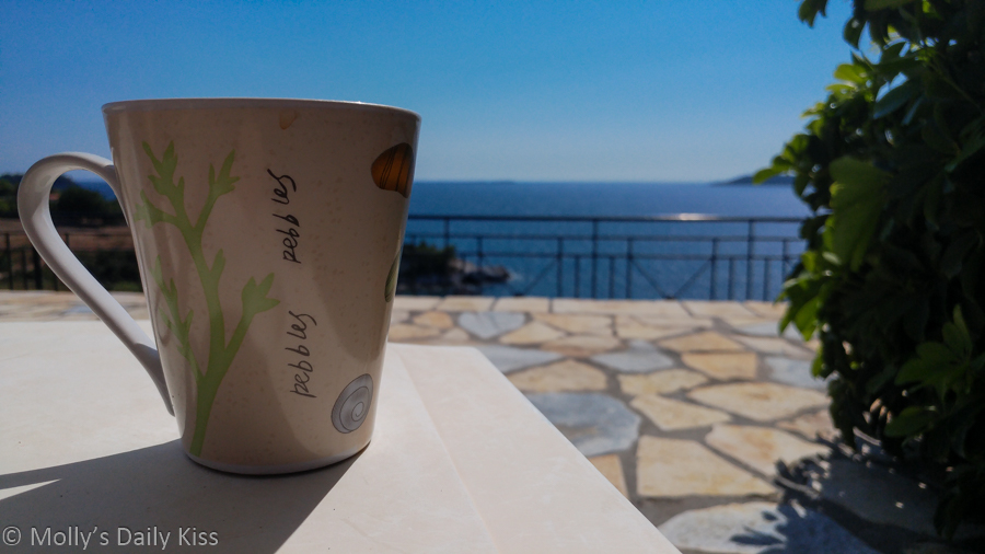 memories from greece, cup of tea by the pool