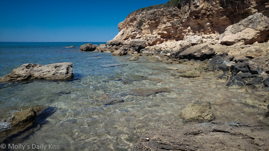 rocky shore line at the sea in kefalonia