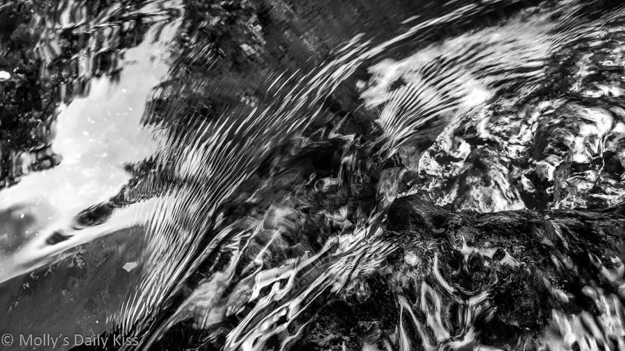 Water ripples in black and white