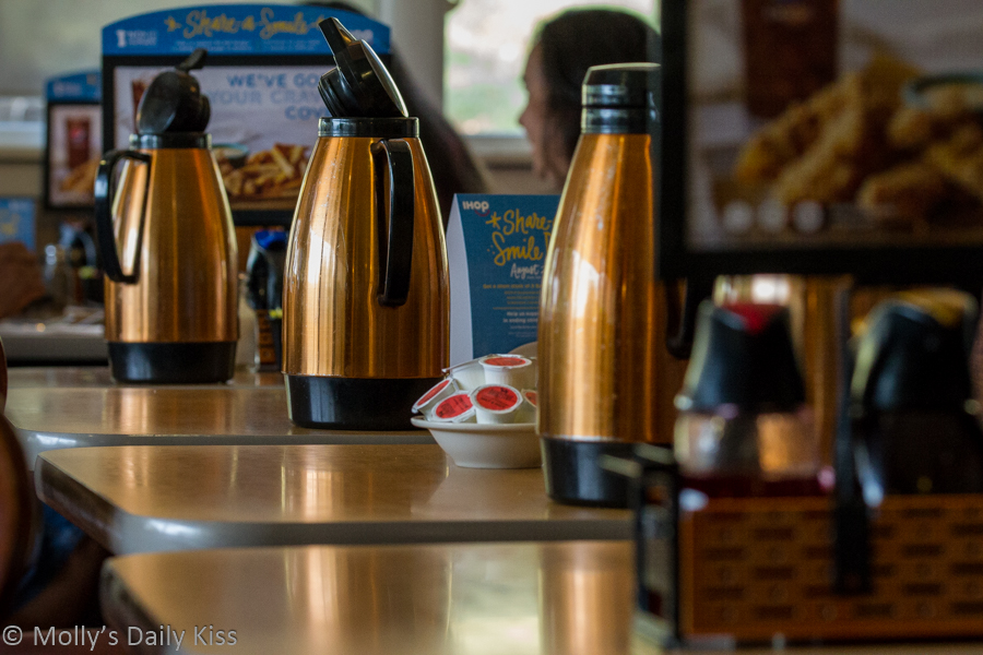Coffee kettles lined up at the iHop