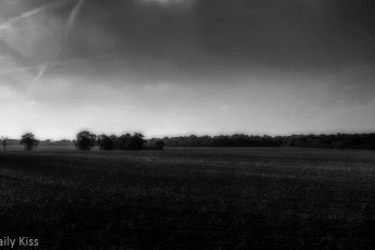 Black and white of ploughing field
