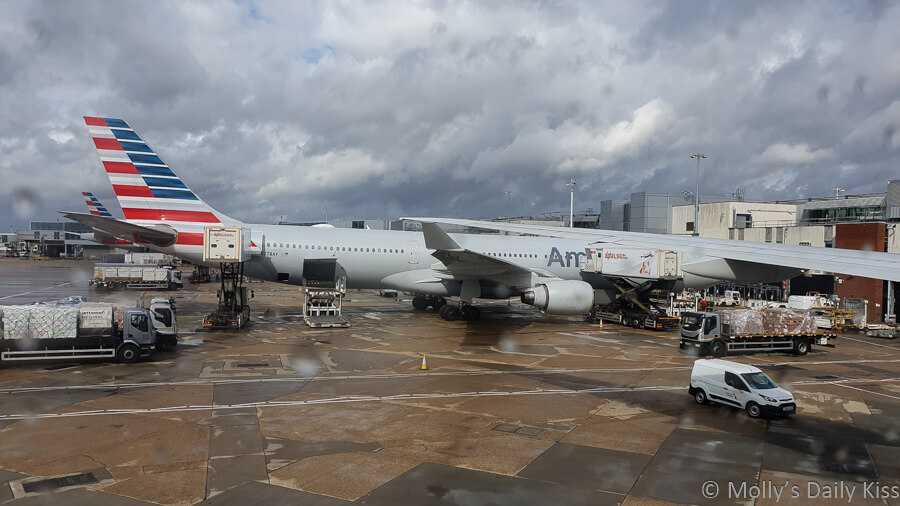 American Airlines at the stand in Heathrow