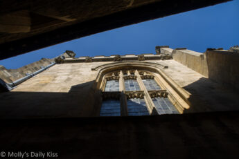 Looking up between buildings at Magdalen College, Oxford