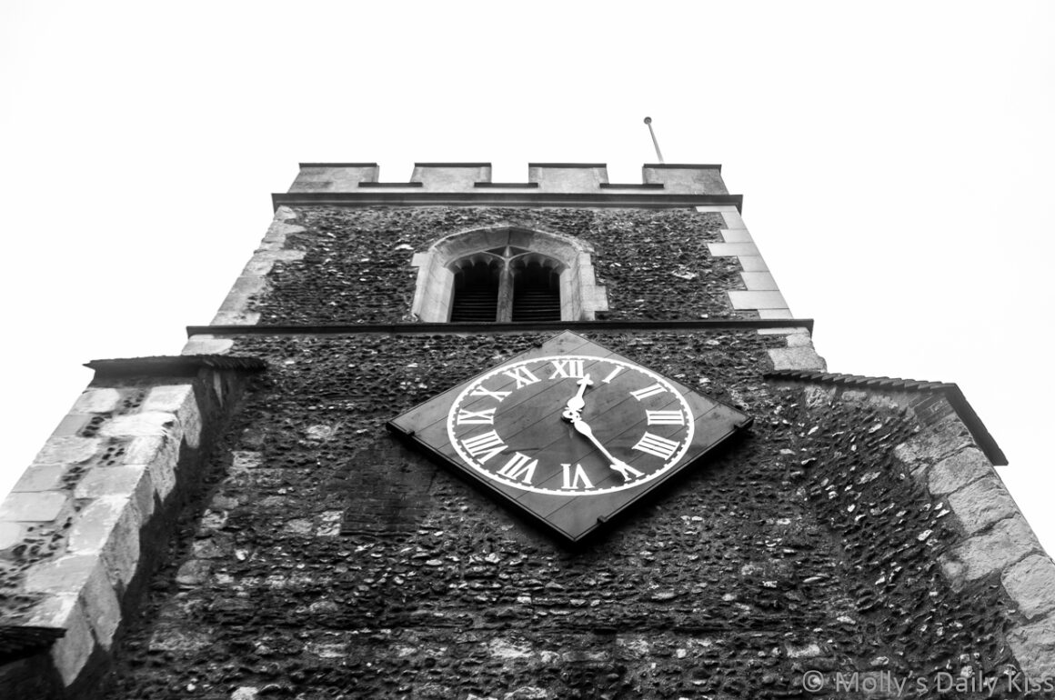 looking up at church clock
