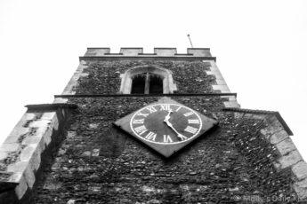 looking up at church clock
