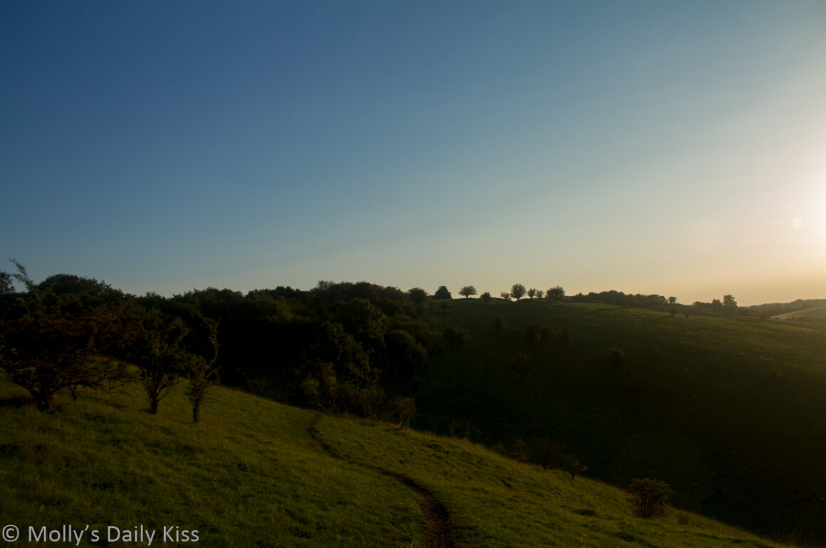 Low sun over Pirton Down Hitchin with path and trees across the hills is balance and freedom